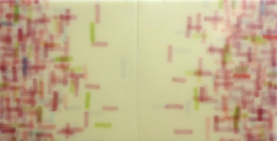 <p><b>Mike&#160; Solomon&#173;</b><br /> <i>Rose Magnetism</i>, 2015&#160;&#160;&#160;&#160; <br /> Watercolor on rice paper with epoxy<br /> 24 x 48 in.&#160;</p>