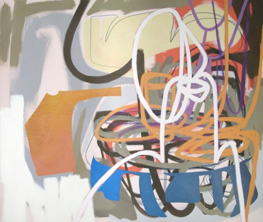 <p><strong>Justine Hill</strong></p><p><i>Leaning Towards Sufficiency</i>, 2014</p><p>Acrylic and pastel on canvas</p><p>44 x 52 inches</p>