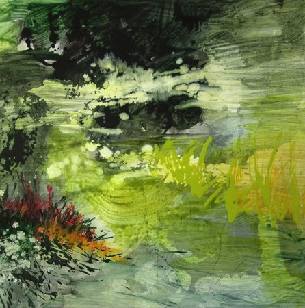 <p><strong>Allison Stewart</strong></p><p><i>Haiku Bayou #14</i></p><p>mixed media on panel</p><p>20 x 20 in.</p>