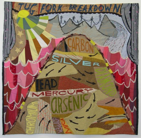 <p><strong>Denise Burge</strong></p><p><em>Tug Fork Breakdown</em>, 2001</p><p>reclaimed fabrics, paper, paste, yarn</p><p>40 x 30 in.</p>