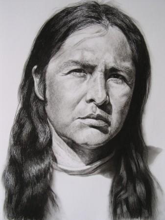 <p>Andrew Tift</p><p>&#34;Deryl Luijan (taos Pueblo)&#34;</p><p>Charcoal, carbon graphite on paper</p><p>58.5 x 48 cm</p>