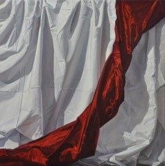 <p>Scarlet Drapery, 152 x 152 cm, oil on canvas, 2014</p>