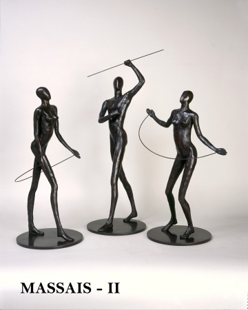 <p>Caroline D'Andlau&#160;</p><p>&#34;A Group of Massai Worriors&#34;</p><p>Bronze</p>
