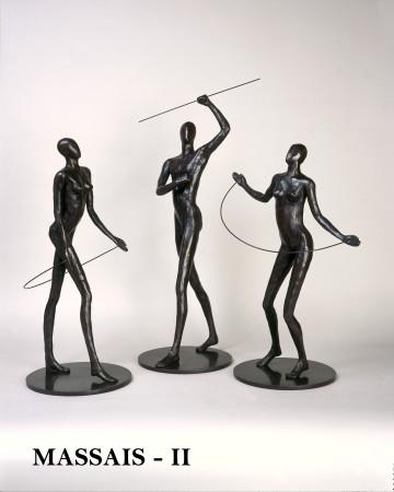 <p>Caroline D'Andlau&#160;</p><p>&#34;A Group of Massai Worriors&#34;</p><p>Bronze</p>