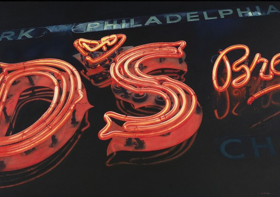 <p>Danis Ryan</p><p>'Philadelphia Neon, New York</p><p>Acrylic and watercolour</p><p>40 x 56 cm</p>
