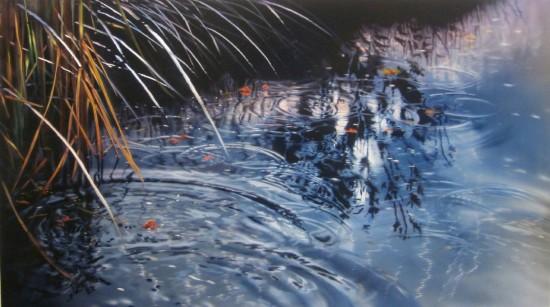 <p>David Kessler</p><p>&#34;Surface Rings Shimmer&#34;</p><p>Acrylic and resin on abraded aluminum</p><p>61 x 107 cm</p>