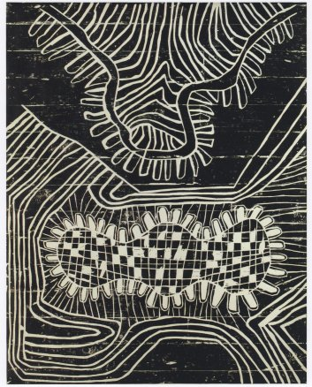 Black landscape (Mr and Mrs Pope Spiked and Holed), 1985