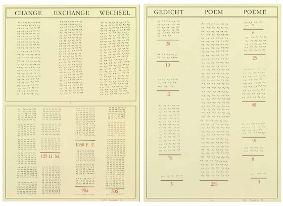 Gedicht/Poem/Poème - Change/Exchange/Wechsel, 1973