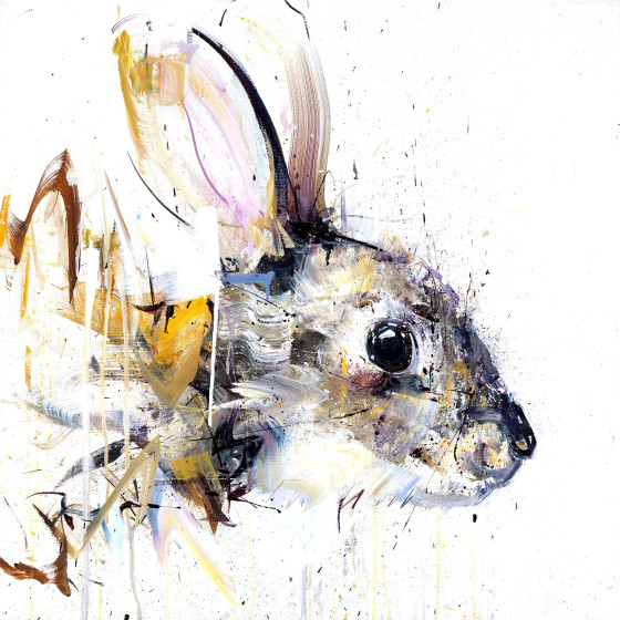 Rabbit Hand Finished Large Gold Leaf Edition