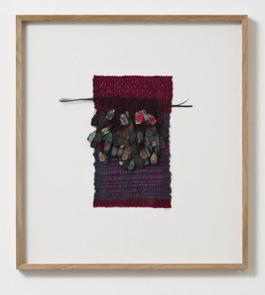 Sheila Hicks Mauresque Etiquette, 2013 Signed and dated on verso Cotton, silk, paper, feather 23.5 x 14 cm / 9 1/4 x 5 1/2 ins