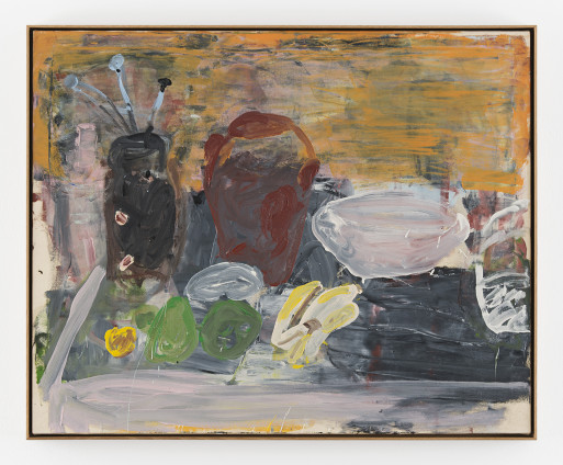 Roy Oxlade Pears and Bananas, 1996 Oil on canvas 80 x 100 cm, 31 1/2 x 39 3/8 ins 83.2 x 102.4 cm, 32 3/4 x 40 1/4 ins, framed Signed