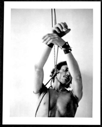 Robert Mapplethorpe Bondage, 1974 Black and white Polaroid Unframed: 20.3 x 8.6 cms / 4 4/1 x 3 3/8 ins Framed: 45 x 37 cms / 17 3/4 x 14 5/8 ins Unique