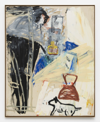 Roy Oxlade Instantas with Black Easel, c. 1989 Oil on canvas 181.5 x 145.2 cm, 71 1/2 x 57 1/8 ins 186 x 152 cm, 73 1/4 x 59 7/8 ins, framed