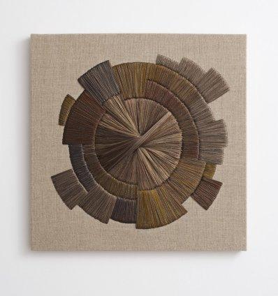 Sheila Hicks Acier II, 2013 Steel fibre and cotton 50 x 50 x 4 / 19 3/4 x 19 3/4 x 1 5/8 ins