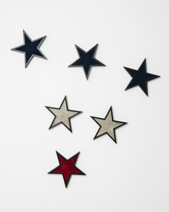 Robert Mapplethorpe Stars, 1983 Stained wood, carpet 33 x 33 cm, 13 x 13 ins, each star Unique Stamped and signed by the Robert Mapplethorpe Estate