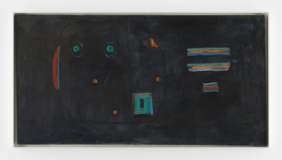 Betty Parsons Fish-Owl, 1980 Acrylic on canvas 58.4 x 111.8 cm, 23 x 44 ins 61.2 x 115.2 cm, 24 1/8 x 45 3/8 ins, framed Signed on verso