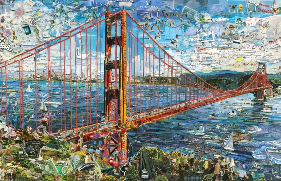 Vik Muniz, Golden Gate Bridge (Postcards from Nowhere), 2015