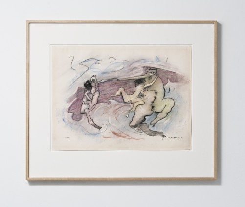 "Dorothea Tanning  Combat, 1971-86  Charcoal and pastel on paper  45.7 x 61 cm, 18 x 24 ins, paper size  69.9 x 83.2 cm, 27 1/2 x 32 3/4 ins, framed  Signed lower right ""Dorothea Tanning 71"" and ""64223"""