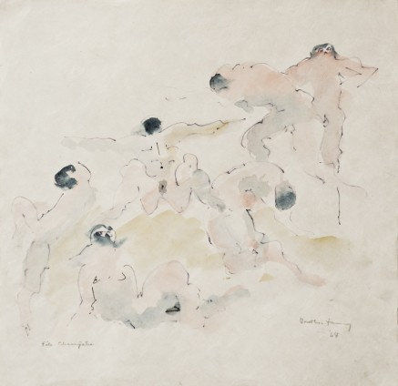 "Dorothea Tanning Fête Champêtre, 1968 Ink and watercolour on Japan paper Untitled: 27 x 28 cm / 10 5/8 x 11 ins Framed: 51.2 x 50.2 cm / 20 1/8 x 19 3/4 ins Signed l.r. ""Dorothea Tanning '68"", inscribed l.l. ""Fête Champêtre"""