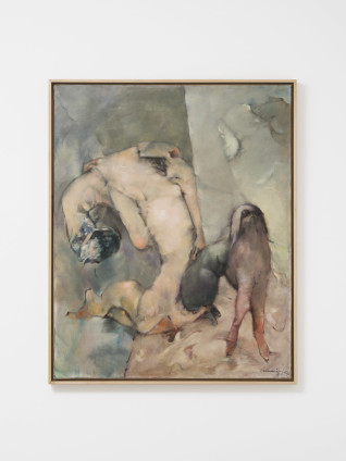 "Dorothea Tanning  La Chienne et sa muse (The Dog and Her Muse), 1964  Oil on canvas  100 x 81 cm, 39 3/8 x 31 7/8 ins  102.9 x 83.8 cm, 40 1/2 x 33 ins, framed  Signed l.r. ""Tanning 64"", inscribed on verso ""Le Chien et sa muse Dorothea Tanning nov. 1964"""