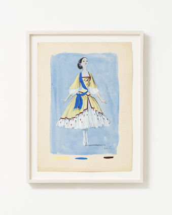 "Dorothea Tanning Untitled (Costume Design for an Unrealized Ballet), c. 1950 Ink, graphite, and gouache on paper 38.1 x 28 cm, 15 x 11 ins 44.3 x 32.5 cm, 17 1/2 x 12 7/8 ins, framed Signed lower right ""Dorothea Tanning"""