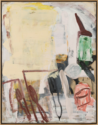 Roy Oxlade  Tins and Brushes, 1995  Oil on canvas  92.2 x 71.9 cm, 36 1/4 x 28 1/4 ins  94.8 x 74.5 cm, 37 3/8 x 29 3/8 ins framed