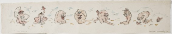 """Dorothea Tanning Maternités (Frieze), 1968 Crayon and watercolour on Japan paper Unframed: 12.7 x 66.7 cm / 5 x 26 1/4 ins Framed: 36.9 x 88.9 cm / 14 1/2 x 35 ins Signed l.r.: """"Dorothea Tanning '78"""", inscribed l.l. """"MATERNITÉS"""""""