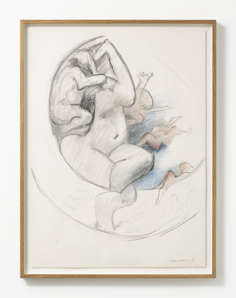 """Dorothea Tanning Study for Murmurs, 1976 Coloured pencil and graphite on paper 73.7 x 54.6 cm, 29 x 21 1/2 ins 81.5 x 62 cm, 32 1/8 x 24 3/8 ins, framed Signed lower right """"Dorothea Tanning '76"""" Inscribed verso: """"Dorothea Tanning Study for Murmurs"""""""