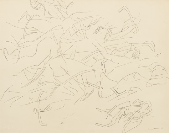 Dorothea Tanning Swarm II, 1989 Graphite on paper 99.1 x 126.7 cm, 39 x 49 7/8 ins 120.5 x 146.1 cm, 47 1/2 x 57 1/2 ins, framed Signed and dated on recto 'Dorothea Tanning 89' (lower right) Inscribed 'Swarm II' (lower left)