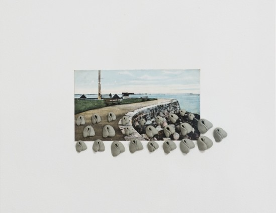 Hannah Wilke Sea Wall, 1975 25 Kneaded erasers on vintage postcard 40 x 45.1 x 7 cm, 15 3/4 x 17 3/4 x 2 3/4 ins, framed Signed and dated