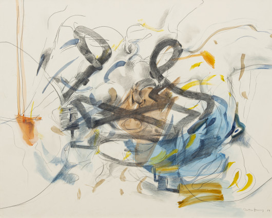 Dorothea Tanning Tangle, 1989 Graphite, coloured pencil and watercolour on paper 80 x 100.3 cm, 31 1/2 x 39 1/2 ins 102.7 x 121.8 cm, 40 3/8 x 48 ins, framed Signed and dated on recto 'Dorothea Tanning 89' (lower right)