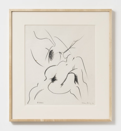 "Dorothea Tanning Three Sisters, 1986 Graphite on paper 50.2 x 47.3 cm, 9 3/4 x 18 5/8 ins 60.2 x 55.6 cm, 23 3/4 x 21 7/8 ins, framed Signed lower right ""Dorothea Tanning '86"" Inscribed lower right ""3 Sisters"""