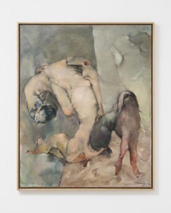 """Dorothea Tanning  La Chienne et sa muse (The Dog and Her Muse), 1964  Oil on canvas  100 x 81 cm, 39 3/8 x 31 7/8 ins  102.9 x 83.8 cm, 40 1/2 x 33 ins, framed  Signed l.r. """"Tanning 64"""", inscribed on verso """"Le Chien et sa muse Dorothea Tanning nov. 1964"""""""