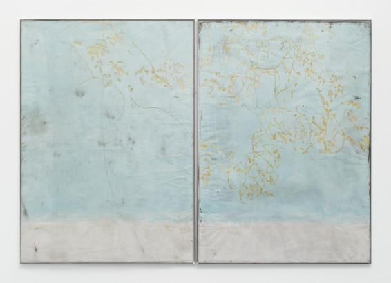 Ian Kiaer Endnote, ping (marder/blue), 2018 Plexiglas, acrylic, pencil on paper 166 x 239.3 x 1 cm, 65 1/4 x 94 1/4 x 3/8 ins 169.5 x 245 cm, 66 3/4 x 96 1/2 ins, framed