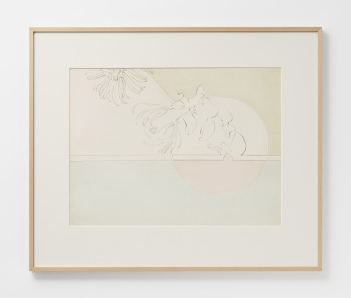 Hannah Wilke  Untitled (Daisies), c. 1966-67  Pastel and pencil on paper  45.7 x 61 cm, 18 x 24 ins, paper size  69.2 x 83.2 x 4 cm, 27 1/4 x 32 3/4 x 1 5/8 ins, framed  Signed on recto 'Wilke' and on verso '1966-7'