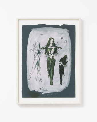 "Dorothea Tanning Witch: Castle Midnight (Costume Design for The Witch), 1950 Gouache on dark blue paper 40.1 x 29.2 cm, 15 3/4 x 11 1/2 ins 46.8 x 35.1 cm, 18 1/2 x 13 7/8 ins, framed Signed lower right ""Dorothea Tanning"" Inscribed lower centre ""Witch"" and verso ""Castle Midnight"""