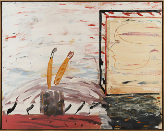 Roy Oxlade  Profile and Brushes, 1984 - 1985  Oil on canvas  120.2 x 152 cm, 47 3/8 x 59 7/8 ins  122.8 x 154.6 cm, 48 3/8 x 60 7/8 ins framed