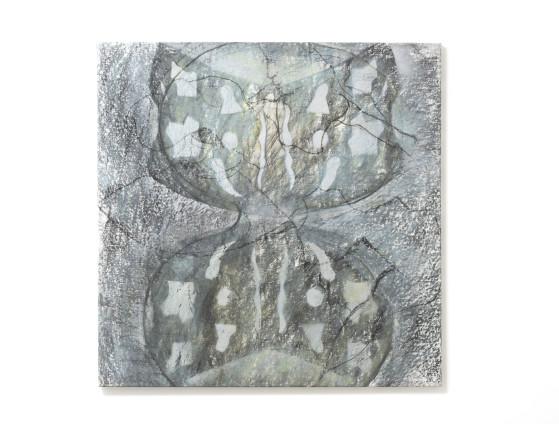 Birgit Jürgenssen Double-Moon, 1987 Acrylic and chalk on linen 84.5 x 84.5 cm, 33 1/4 x 33 1/4 ins Signed & dated