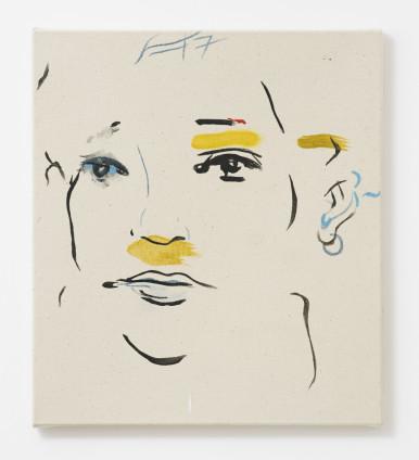 France-Lise McGurn  Dummy, 2017  Oil, acrylic and marker pen on canvas  41 x 36 cm, 16 1/8 x 14 1/8 ins