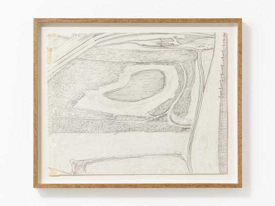 Carol Rhodes Picnic Site, 1997 Pencil on paper 39 x 49 cm, 15 3/8 x 19 1/4 ins 46.3 x 56.8 x 4 cm, 18 1/4 x 22 3/8 x 1 5/8 ins framed