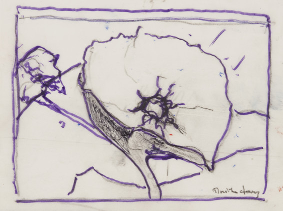 """Dorothea Tanning Sketch for Cyanea Barbellata (Dalliance), 1997 Graphite and ink on vellum 17.8 x 24.13 cm, 7 1/8 x 9 1/2 ins 38 x 36 x 3.75 cm, 15 x 14 1/8 x 1 1/2 ins, framed Signed """"Dorothea Tanning"""" bottom right"""