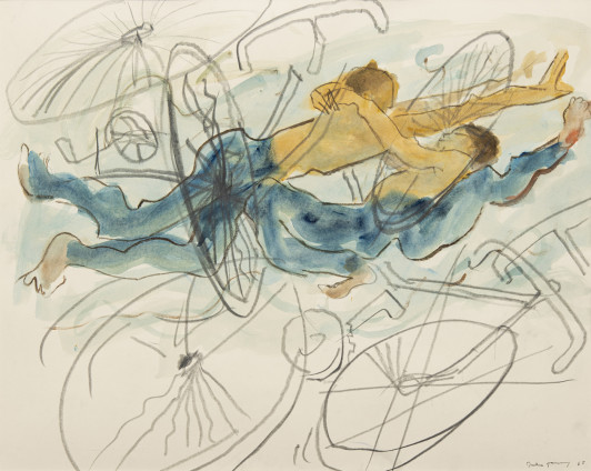 Dorothea Tanning Worlds in Collision, 1988 Watercolour and black crayon on board 78.8 x 98.4 cm, 31 x 38 3/4 ins 101.7 x 121.2 cm, 40 1/8 x 47 3/4 ins, framed Signed and dated on recto 'Dorothea Tanning 88' (lower right)