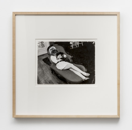 Dorothea Tanning Untitled (The Artist as a Dog), 1967 Photographic collage 19.7 x 26.7 cm, 7 3/4 x 10 1/2 ins 49.4 x 50.5 cm, 19 1/2 x 19 7/8 ins, framed Signed and dated 'Dorothea Tanning 1967' (lower left), 'Qibey Christian' and 'Paris Match/Marie Claire' (verso stamped)