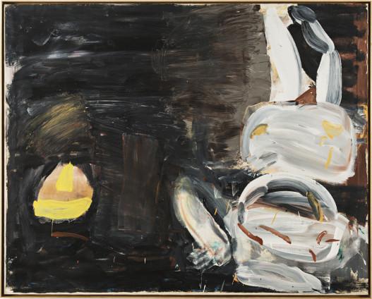 Roy Oxlade  Lemon Squeezer, 1987  Oil on Canvas  122.2 x 152.7 cm, 48 1/8 x 60 1/8 ins  124.8 x 155.3 cm, 49 1/8 x 61 1/8 ins framed