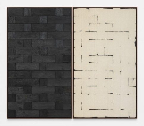 Davide Balula  Burnt Painting, Imprint of the Burnt Painting (A —-—-), 2015  Charred wood, coal dust on linen  Each panel: 217.2 x 125.7 cm / 85 1/2 x 49 1/2 ins