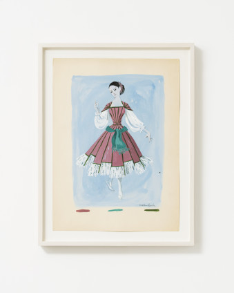 "Dorothea Tanning Untitled (Costume Design for an Unrealized Ballet), c. 1950 Graphite, ink, and gouache on paper 38.1 x 28 cm, 15 x 11 ins 44.3 x 32.5 cm, 17 1/2 x 12 7/8 ins, framed Signed lower right ""Dorothea Tanning"""