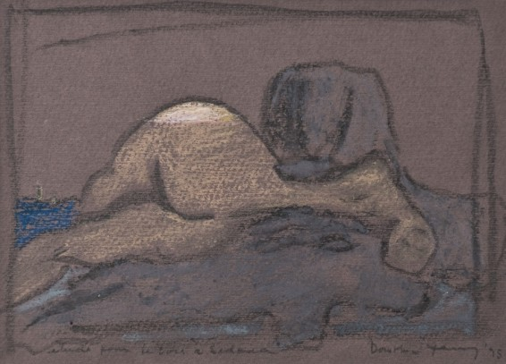 "Dorothea Tanning Study for Evening in Sedona, 1975 Pastel on purple paper Unframed: 27 x 41.6 cm / 10 5/8 x 16 3/8 ins Framed: 38.3 x 42.7 cm / 15 1/8 x 16 3/4 ins Signed l.r. ""Dorothea Tanning '75"", inscribed l.l. ""étude pour le soir à Sedona"""
