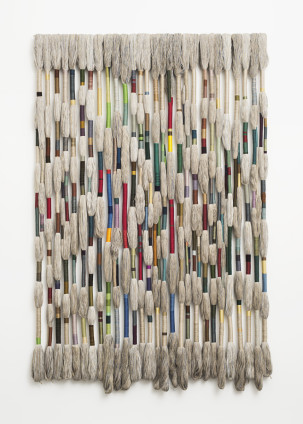 Sheila Hicks  Chords of Accord, 2017  Linen  Composed of 28 elements  295 x 200 x 12 cm, 116 1/8 x 78 3/4 x 4 3/4 ins