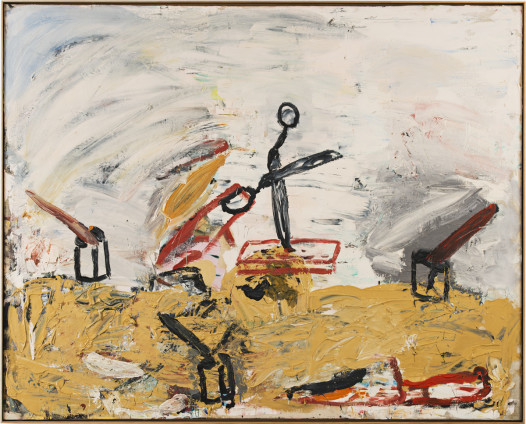 Roy Oxlade  Kitchen Knife and Scissors , 1986  Oil on canvas  121.2 x 151.2 cm, 47 5/8 x 59 1/2 ins  123.8 x 153.8 cm, 48 3/8 x 60 1/2 ins framed