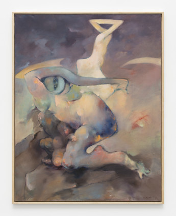 Dorothea Tanning Heartless, 1980 Oil on canvas 149.6 x 118 x 4.5 cm, 58 7/8 x 46 1/2 x 1 3/4 ins, framed Signed 'Dorothea Tanning' (lower right)